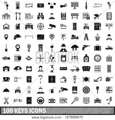 100 keys icons set in simple style for any design vector illustration