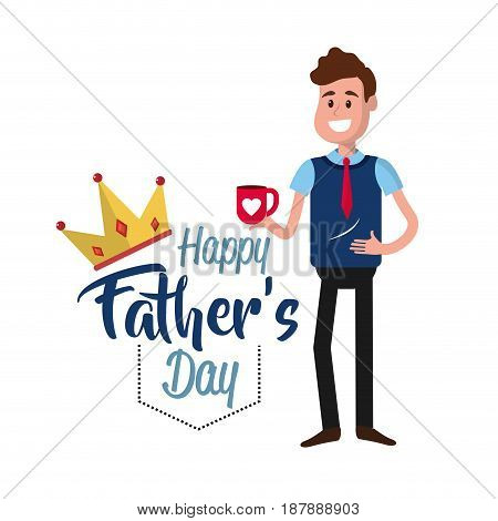 father day card with decoration design, vector illustration