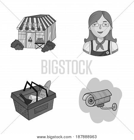 Salesman, woman, basket, plastic .Supermarket set collection icons in monochrome style vector symbol stock illustration .