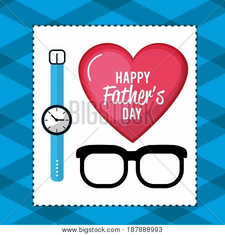 father day card with glasses and watch decoration, vector illustration