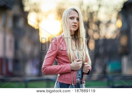 Beautiful Blonde Woman In The Street On Sunset
