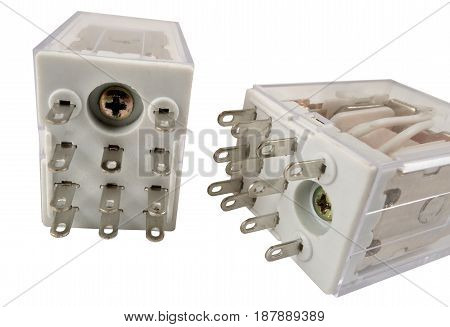 the electromagnetic relay isolated on white background