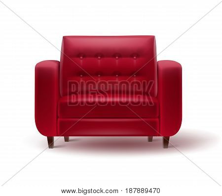 Vector red armchair for home or office interior front view isolated on white background
