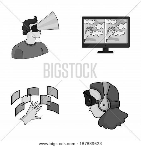 Hand, monitor, headphones, woman .Virtual reality set collection icons in monochrome style vector symbol stock illustration .