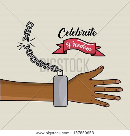 hand with chain and ribbon design to celebrate freedom, vector illustration