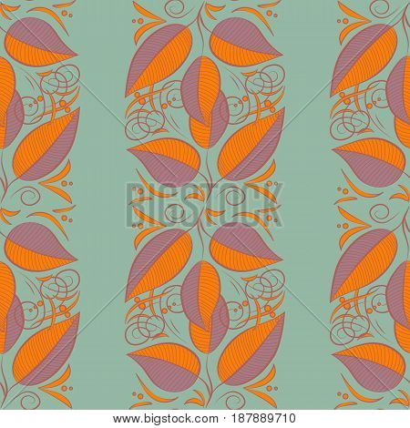 Multicolor ornament of small simple blue and pink leaves vector abstract seamless pattern for fabric or textile design.