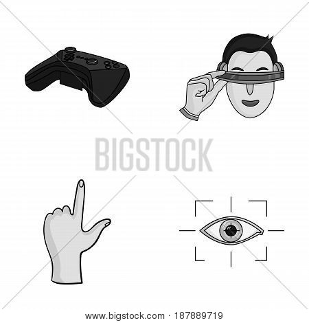 Virtual, reality, helmet, computer, technology, .Virtual reality set collection icons in monochrome style vector symbol stock illustration .