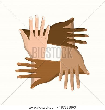 hands together celebrating special day, vector illustration