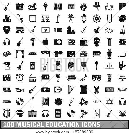100 musical education icons set in simple style for any design vector illustration