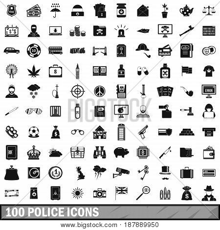 100 police icons set in simple style for any design vector illustration