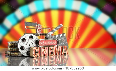 Cinema Had Light Concept Nave Lets Watch Cinema 3D Render Cinema Background