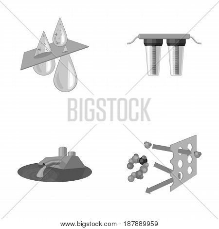 Purification, water, filter, filtration .Water filtration system set collection icons in monochrome style vector symbol stock illustration .