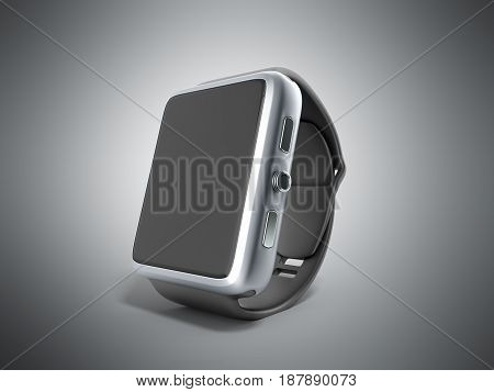 Digital Smart Watch Or Clock With Icons 3D Render On Grey