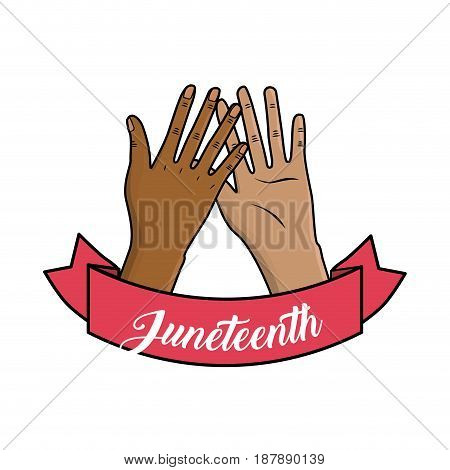 hands up and riibbon with message abuot junetteenth, vector illustration