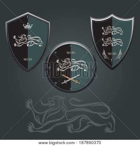 Lion shield emblem design navy blue background