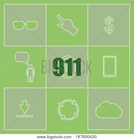 Text 911. Securitry Concept . Set Of Infographics Elements