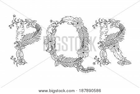 Tropical floral summer pattern hand drawn ornamental font set with palm beach leaves, flower. Letter P, Q, R