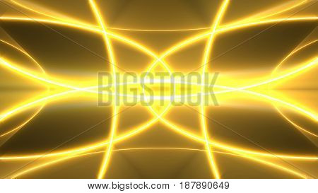 Golden lights kaleida background. Digital 3d rendering
