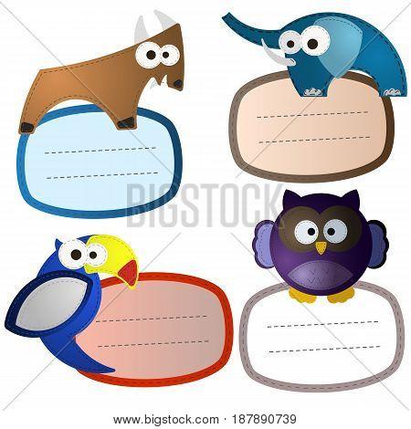Baggage stickers felt wild animals set. The Goat Elephant Parrot Owl. Sewing needlework look like. Editable eps10 Vector. Transparent background illustration.