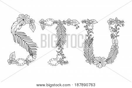 Tropical floral summer pattern hand drawn ornamental font set with palm beach leaves, flower. Letter S, T, U