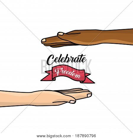 hands and ribbon to celebration freedom juneteenth, vector illustration