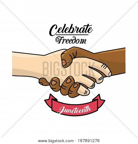hands together and ribbon to celebrate freedom juneteenth, vector illustration