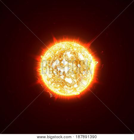 Burning realistic 3D sun, flashes, glare, flare, sparks, flames, heat and fire rays. Orange, hot, cosmic red planet on a black background vector illustration.