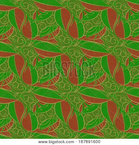Hand drawn floral texture blue decorative leaves. Vector seamless colorful floral pattern.