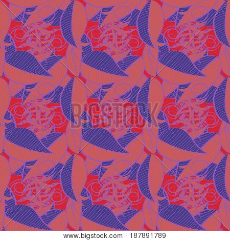 Vector leaf concept. Leaf natural pattern in blue colors. Seamless floral pattern can be used for sketch website background wrapping paper. Summer design.