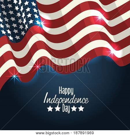 independence day with flag decoration design, vector illustration