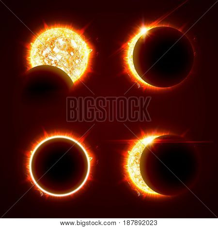Incomplete and total solar eclipseon on a black background vector illustration set. The Sun in the Shadow of the Moon picture collection.