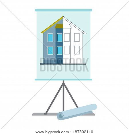 Presentation on a flipchart plan for the construction of a residential building. Flat vector cartoon illustration. Objects isolated on a white background.