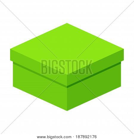 Big green box. Packaging for gifts parcels various goods. Flat vector cartoon illustration. Objects isolated on a white background.