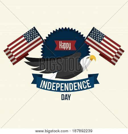 independence day with emblem eagle and flags, vector illustration