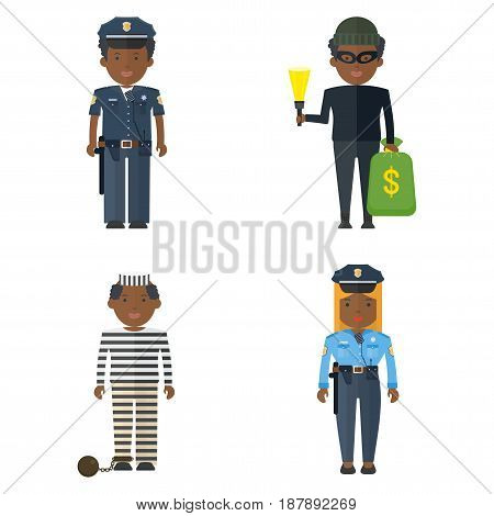 Set of Police and criminal black people. Representatives of law and lawlessness. Flat vector cartoon illustration. Objects isolated on a white background.