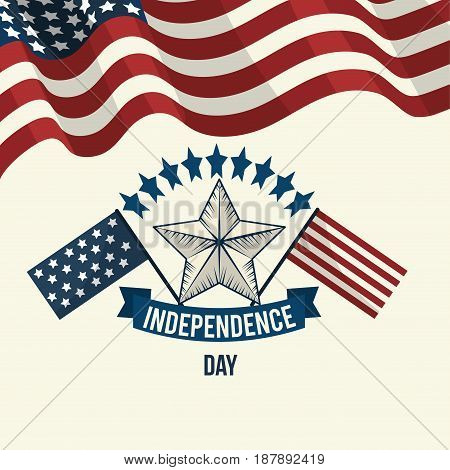 independence day with flags and ribbon design, vector illustration