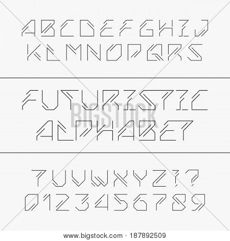 Futuristic alphabet typeface. Outline type letters and numbers. Vector font. Typography for headlines, posters, signs etc.
