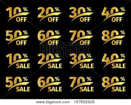 Golden numbers with percentage on a black background. Promotional business offer for buyers. The number of discounts in the strict style gold color. Vector illustration set.