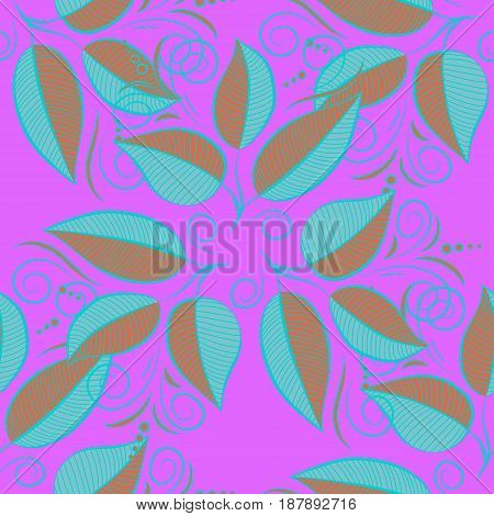 Vector cute pattern in small leaf. The elegant the template for fashion prints. Spring floral background with blue leaves. Motley illustration. Small colorful leaves.