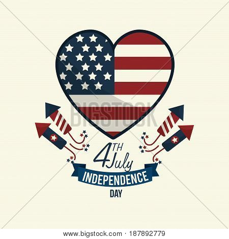 independence day wiith heart emblem and firewords, vector illustration