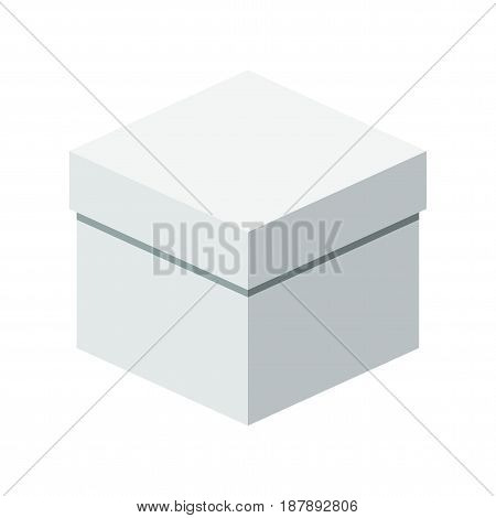 Big white box. Packaging for gifts parcels various goods. Flat vector cartoon illustration. Objects isolated on a white background.