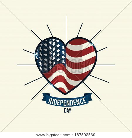 independence day with heart emblem and ribbon, vector illustration