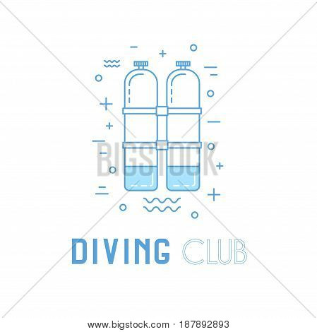 Scuba Diving Line Art Illustration With Aqualung