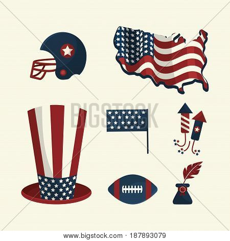 set american tradition elements icons, vector illustration
