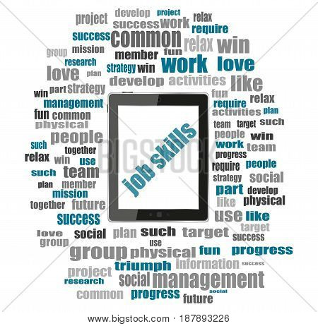 Words Job Skills. Education Concept . Tablet Pc With Word Cloud Collage
