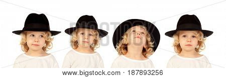 Sequence of a blond child with black hat doing differents expressions isolated on white background