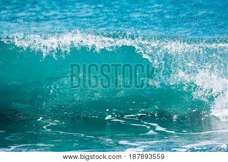 Blue wave in tropical ocean. Barrel crashing and sun light. Clear water.