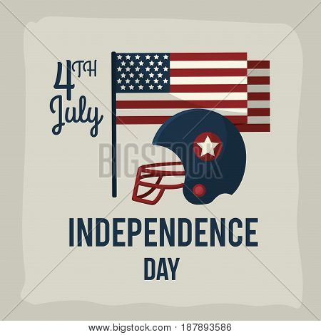 independence day with american helmet and flag, vector illustration