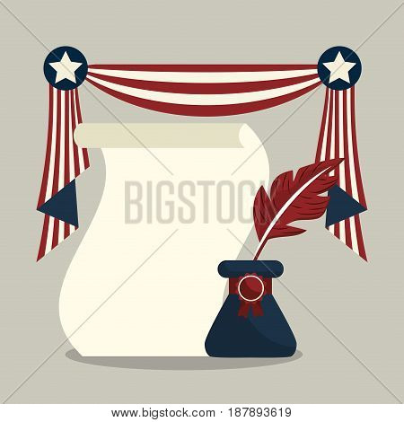 american design with ink and diploma design, vector illustration
