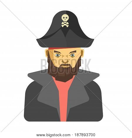 Vector illustration of dangerous bearded pirate wearing hat with skull.
